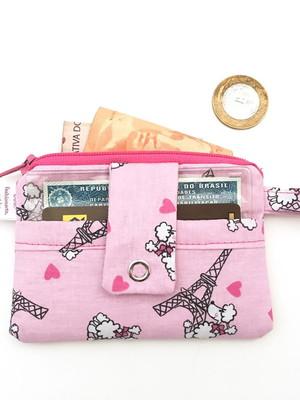 Carteirinha de bolso cartões dinheiro moeda paris fundo rosa