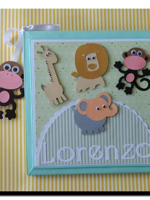diário bebê álbum personalizado menino safári scrapbook
