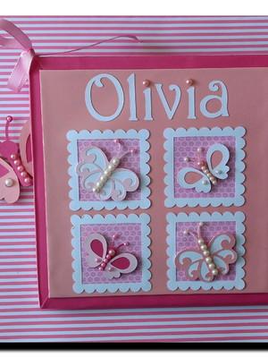 Diário Do Bebê borboletinhas rosa