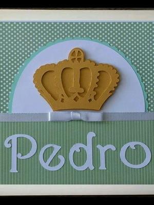enfeite porta maternidade bebê príncipe coroa dourada scrap