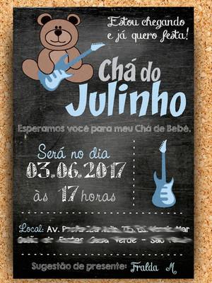 Convite Ursinho Guitarra Chalkboard