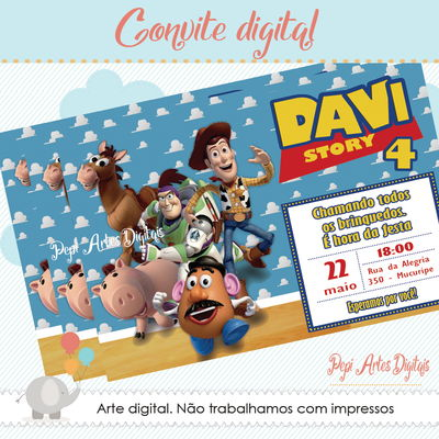 Convite digital Toy Story