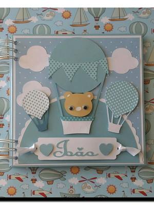 caderno personalizado bebê menino ursinho baloneiro scrap