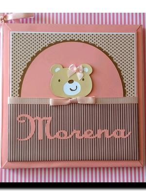 diário álbum bebê menina ursinha rosa e marrom scrapbook
