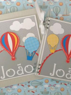 Livro bebê e caderno da maternidade scrapbook balões