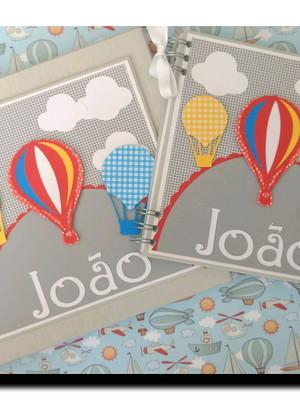 caderno personalizado e Caixa para baloes coloridos