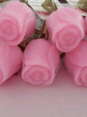 Botão de Rosa de sabonete para outubro rosa