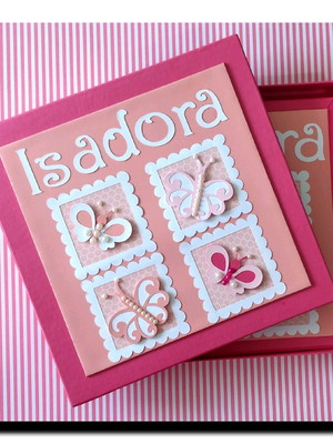 Diário bebê menina personalizado caixa borboletinhas e caixa