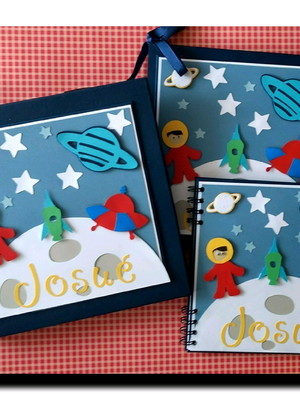 kit álbum livro bebê completo menino astronauta scrapbook