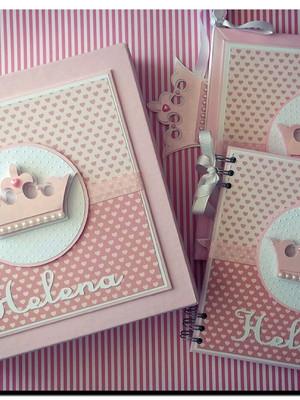 diário bebê caixa caderno menina maternidade princesa scrap