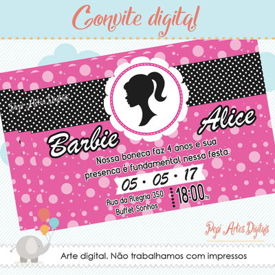 Convite digital Barbie