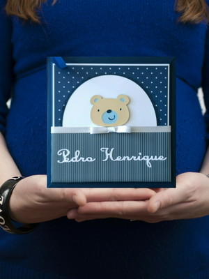 livro diário bebê personalizado ursinho menino scrapbook