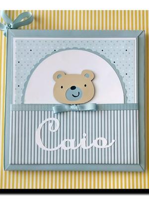 Diário Do Bebê personalizado para menino Ursinho azul claro