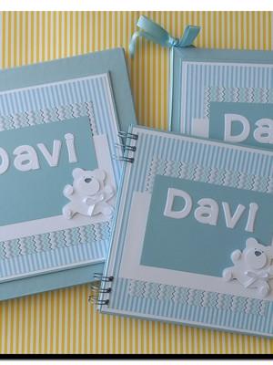 diário bebê menino caixa caderno mensagens foto menino urso