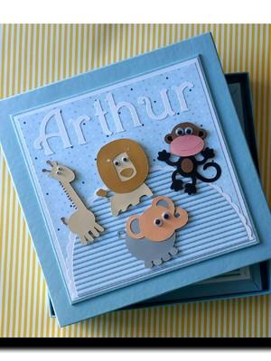 diário bebê personalizado e caixa safári menino scrapbook