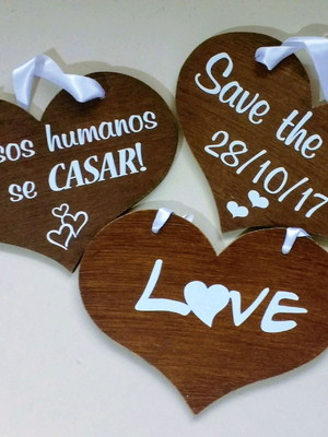 Placas Save the Date Rústica p/ 3 PETs