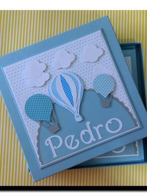 Diario bebe personalizado e caixa menino baloes nuvens azul