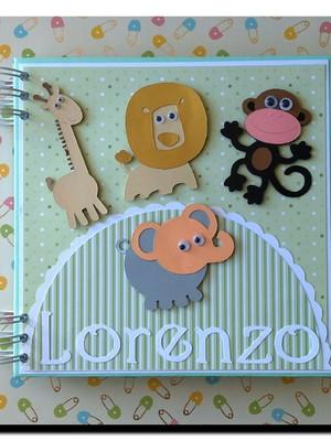 album para fotos caderno mensagens maternidade safari verde