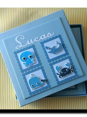 livro bebê personalizado menino fundo do mar com caixa scrap