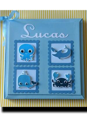 livro álbum bebê personalizado fundo mar menino scrapbook