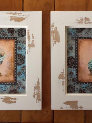 Kit 2 Quadros Decorativos para Banheiro com Moldura e Vidro