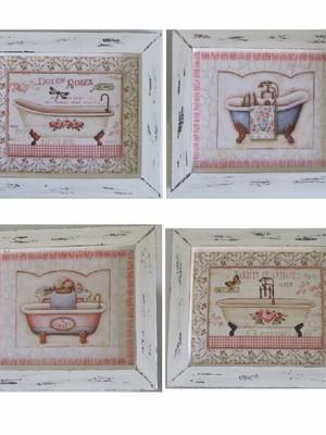 Kit 4 Quadros Vintage para Banheiro COM VIDRO