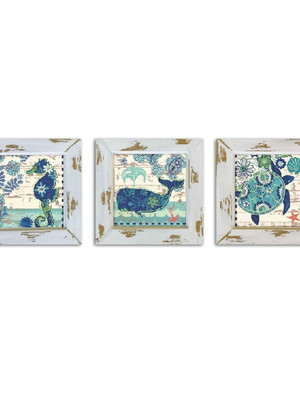 Kit 3 quadros decorativos para banheiro com Moldura e Vidro