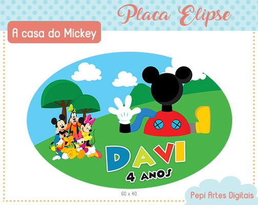 Placa Elipse Casa do Mickey
