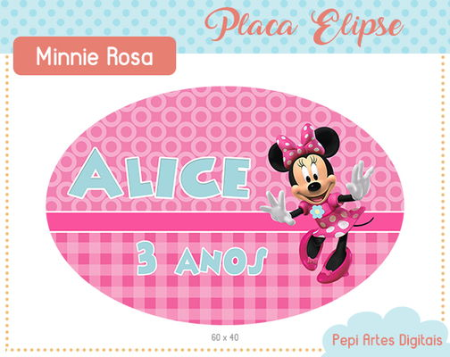 Placa Elipse Minnie (digital)