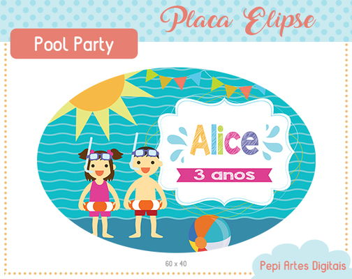 Placa Elipse Pool Party (digital)
