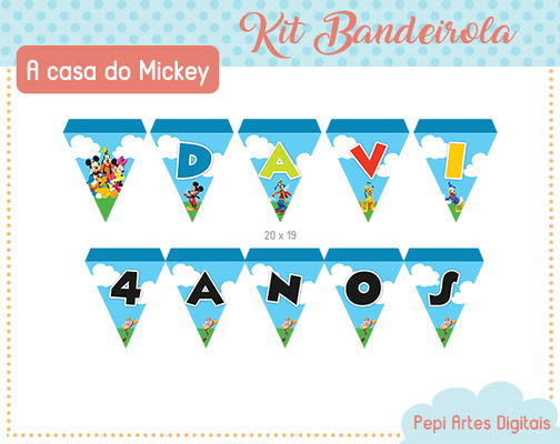Kit Bandeirolas Casa do Mickey (digital)