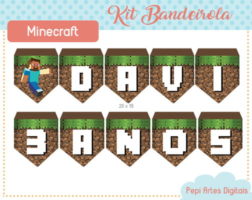 Kit Bandeirolas Minecraft (digital)