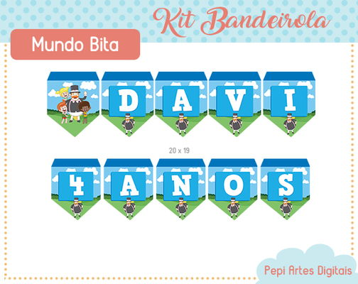 Kit Bandeirolas Mundo Bita (digital)