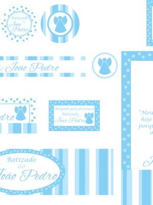 Kit Festa Batizado Azul- digital