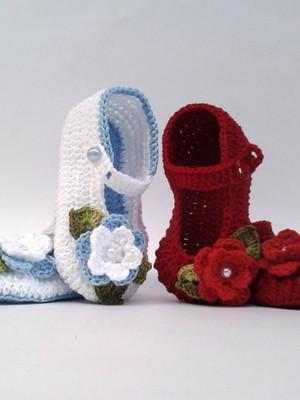 Ak2 Kit Com 2 Sapatinhos Croche menina ou menino 1 so frete