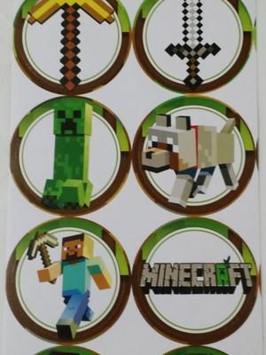 Adesivo Redondos Minecraft 4CM (30 unid.)