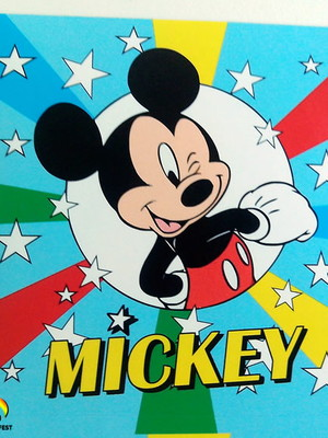 Adesivo Quadrado Mickey 7x7cm (20 unid.)