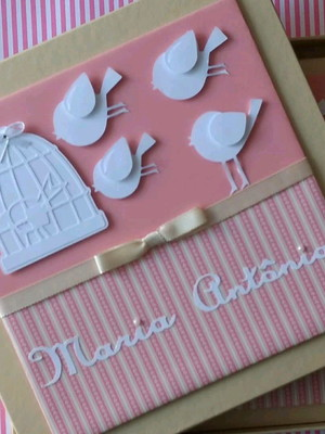 livro diário bebê menina e caixa passarinho scrapbook lindo