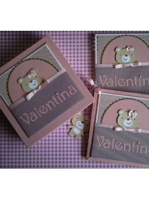 álbum diário bebê menina caixa ursinha fofa rosa marrom