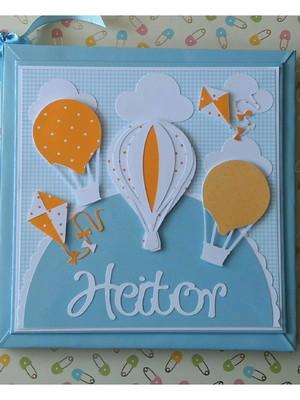 Diário Bebê Balões pipa menino azul branco laranja scrapbook