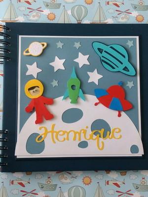 Caderno Personalizado mensagens foto menino astronauta scrap