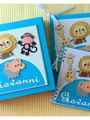 livro bebê menino caixa e caderno personalizado safári scrap