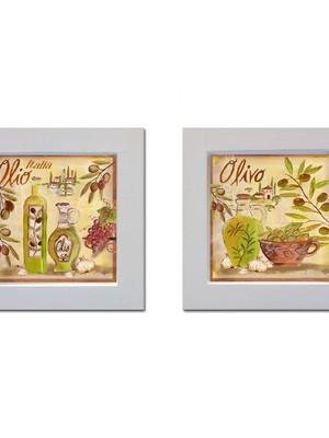 Kit 2 quadros brancos de cozinha com Moldura e Vidro