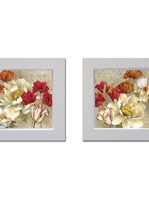 Kit 2 quadros brancos de flores com Moldura e Vidro