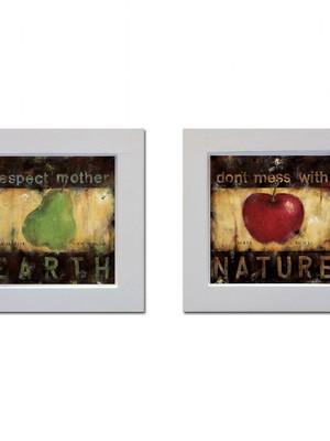 Kit 2 quadros brancos de frutas com Moldura e Vidro