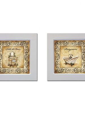 Kit 2 quadros brancos de banheiro com Moldura e Vidro