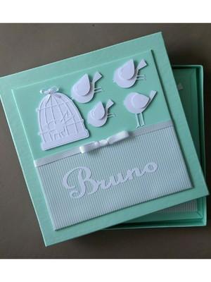livro e caixa bebê menino passarinho verde scrapbook