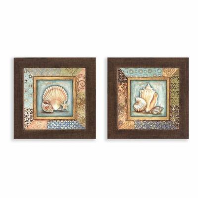 Kit 2 Quadros para Banheiro Marrons com vidro Tam 23 cm cada