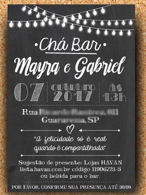 Convite Chá Bar Chalkboard - Digital