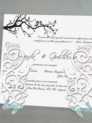 Arquivo silhouette Convite de casamento passarinhos